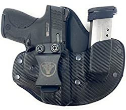 Cardini Leather USA – IWB Cáscara X Series Hybrid Kydex and Leather Holster - Concealed Carry - Inside The Waistband with Magazine Pouch for S&W M&P Shield Black Right Hand