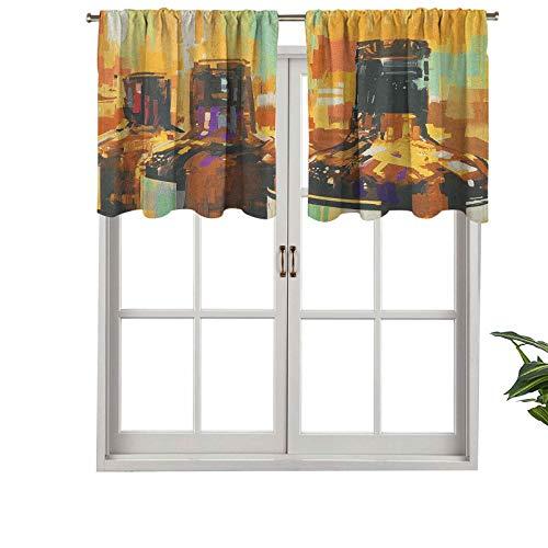 Hiiiman Cortinas pequeñas para ventana de cocina, estilo de pintura colorida, botellas de vino con Bruststrokes Bevera, juego de 1, 106,7 x 45,7 cm para cocina, baño y cafetería.