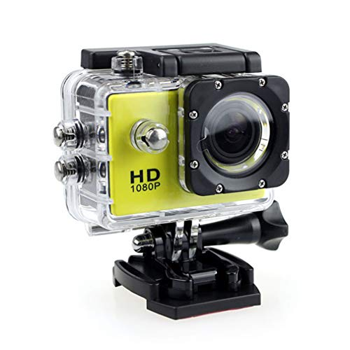 Action Camera, HD 1080P Action Camera Waterproof Camera with 2.0' Screen Underwater Cam Waterproof 30M, for Live Streaming Stabilisation,Yellow