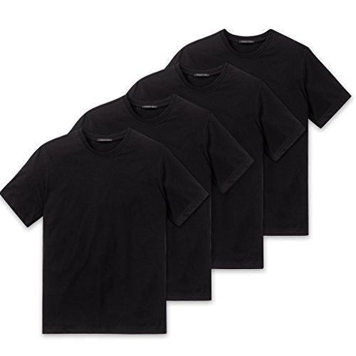 Schiesser Herren American T-Shirt Rundhals - 008150-4er Spar-Pack (L (Gr.6), 4 X Schwarz)