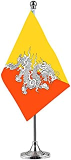 GentleGirl.USA Bhutan Table Flags,Stick Small Mini Bhutanese Flag Office Desk Flag on Stand with Stand Base, International Festival Bhutanese Theme Party Decoration,Home Desk Decoration
