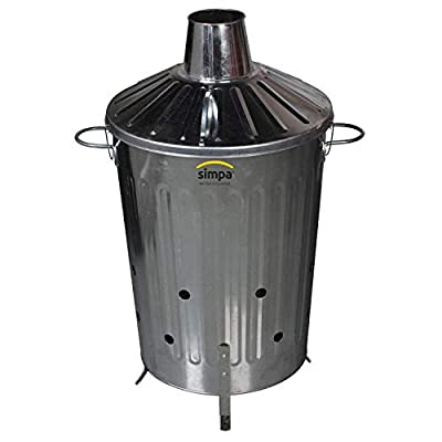 CrazyGadget® Small Medium Large Extra Large Galvanised Metal Incinerator Fire Burning Bin with Special Locking Lid (60 Litre) from CrazyGadget®