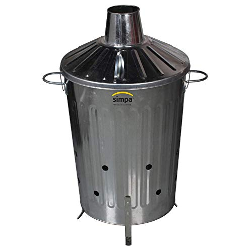 CrazyGadget® Small Medium Large Extra Large Galvanised Metal Incinerator Fire Burning Bin with Special Locking Lid (60 Litre)
