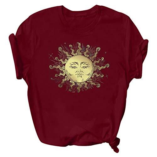 T Shirts Camisetas Mujer de Manga Corta Verano Sol y Luna Impresión,Mujers Camiseta Blusa Tops Divertidas Cuello Redondo de Color Sólido con Estampado Patrón Elegante,Camisa Casual para Damas