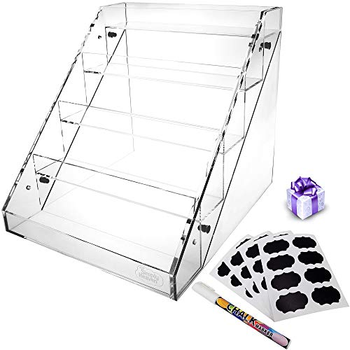 Simply Heaven 5 Tier Clear Acrylic Spice Rack Kitchen Organizer Flat or Raised Edge Style Layers Plastic Home Shelf Organization Countertop Pantry Cabinet Closet Includes Bonus Labels and Marker