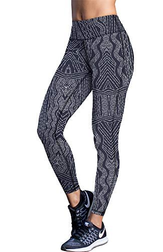 icyzone Damen Leggings Lang Sport Yoga Hose - Hohe Taille Training Tights Gym Pants Laufhose (L, Graphic Beads)