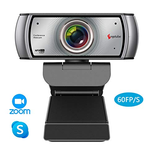 1080P Webcam 60fps with Microphone Wide Angle Noise Reduction HD USB Web Camera for Zoom Skype Meeting YouTube FaceTime Hangouts Windows PC Mac Laptop Desktop
