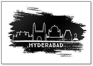 Hyderabad India City Skyline Hand Drawn Illustration Classic Fridge Magnet