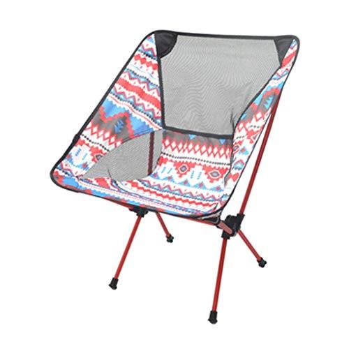 MMAXZ Compacto y Ligero Plegable Silla de Playa, Silla portátil Transpirable cómodo for Acampar, con Mochila, Senderismo (Color : A)