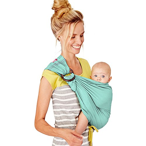 Mamaway Ring Sling Baby Wrap Carrier for Infant, Newborn, Toddler, Nursing Cover, Breastfeeding Privacy, Baby Holder, Breathable Fabric, 100% Cotton (Boy Blue)