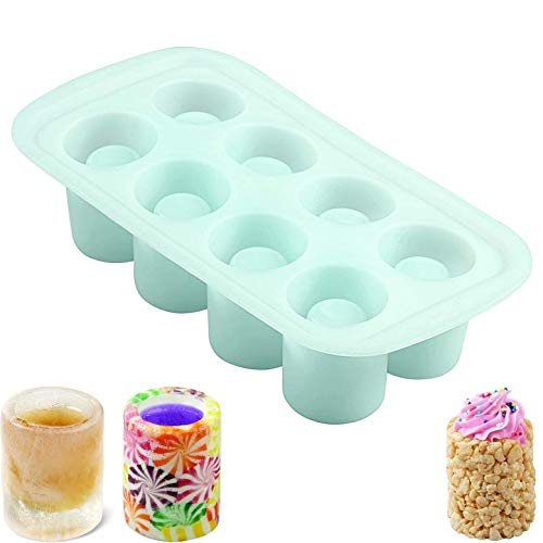 8-Cavity Cups Ice Tray Round Silicone Shot Glass Mold, Non Stick Food Grade Bottle Silicone Mold, 20 × 10 cm Easy Release Round Ice Cups, Reusable and BPA Free
