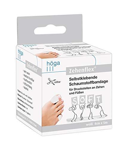 Zehenflex Weiß 4cm X 5m Gedehnt. Selbstklebende Schaumstoffbandage, Soft Sehr Weich, Elastisch Und Reißbar, Hautfreundlich, Luftdurchlässig, Latexfrei
