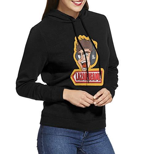 La-Zar-Beam Sudadera con capucha para mujer, manga larga, sin bolsillos, color negro