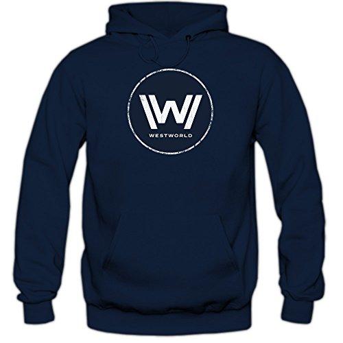 Shirt Happenz Westworld Hoodie | Herren | TV-Serien Fun-Hoodie | Fantasy | Science-Fiction-Film, Farbe:Dunkelblau (Navy F421);Größe:M