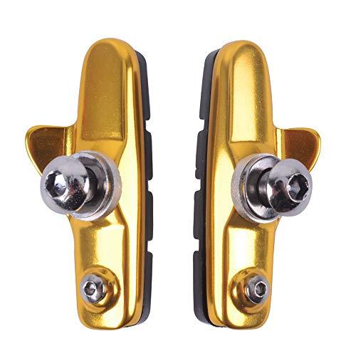 AKDSteel Aluminiumlegierung rennrad bremsblock c Bremse Fixed COG leise bremsblock stück wasserführung Gummi bremsstück Fahrrad zubehör Gold Unverzichtbares Zubehör für den Outdoor-Sport