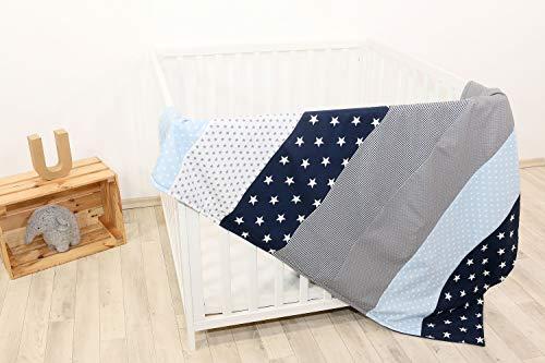 """ULLENBOOM ® Babydecke 100x140 cm """"Blau Hellblau Grau"""" (Made in EU) - Baby Kuscheldecke aus ÖkoTex Baumwolle & Fleece, ideal als Kinderwagendecke oder Spieldecke geeignet, Design: Sterne, Patchwork"""