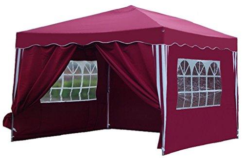 Kronenburg Faltpavillon wasserdicht Dachmaß 3 x 3 m UV Schutz 50+ Pavillon in Rot mit 4 Seitenteilen