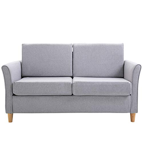 HOMCOM Sofa Double Seat Compact Loveseat Couch Living Room Furniture with Armrest Grey