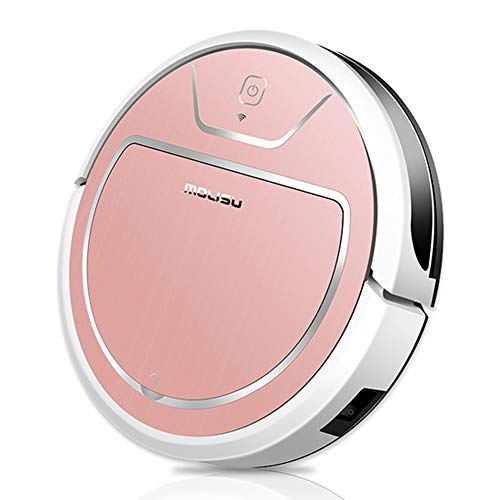BIRETDA MOLISU V8S Pro Robot Vacuum Cleaner with APP Remote Control,2000pa Strong Suction and Self-Charging, Sweeping and Mopping, Great for Pet Hair, Floors and Thin Carpets (Pink)