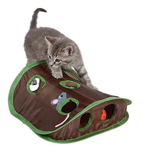 Maus Jagd Katze Puzzle Spielzeug, Haustier Katze Spielen Spielzeug Mäuse Intelligenz Pädagogische Glockenzelt Mit 9-Loch-Tunnel, Interaktive Spiel Katzenspielzeug