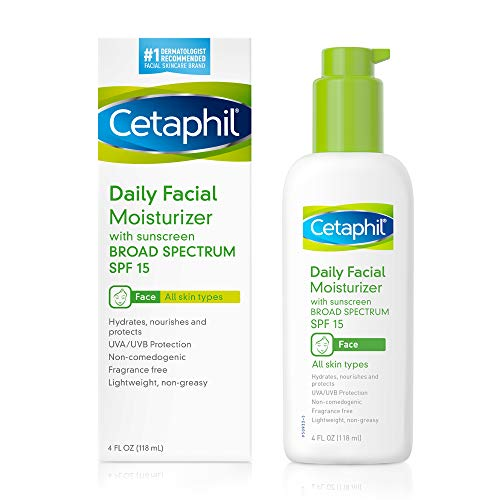 Cetaphil Daily Facial Moisturizer with Sunscreen Broad Spectrum SPF 15, Fragrance Free Unscented 4 Fl Oz (Pack of 2)
