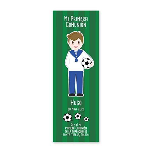 Recordatorios de Primera Comunión fútbol, niño vestido con traje marinero. Pack 25 udes. Marcapáginas.