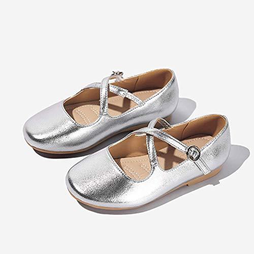 ZGYQGOO Zapatos de niños Zapatos de Princesa Zapatos de Fondo Suave Moda Infantil Regalo de Fiesta Oro