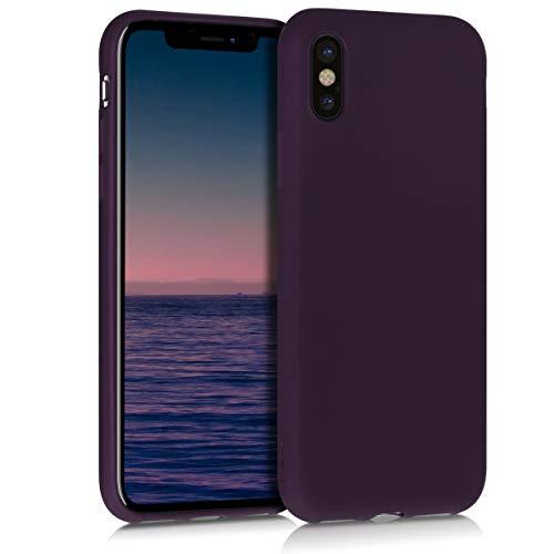 kwmobile Cover Compatibile con Apple iPhone X - Protezione Back Case Silicone TPU Effetto Metallizzato - Custodia Morbida Bordeaux Metallizzato