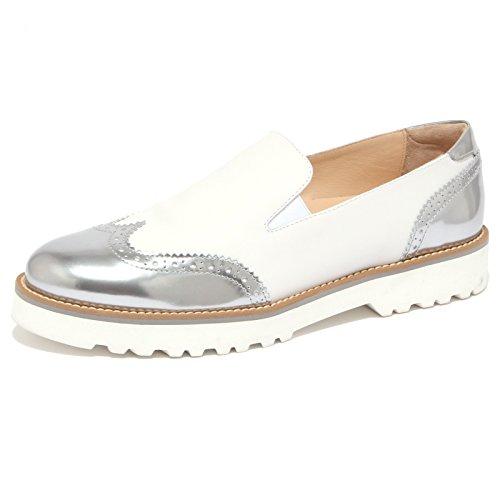 Hogan 1502Q Mocassino Pantofola Bianco/Argento Scarpa Donna Shoe Women [40]