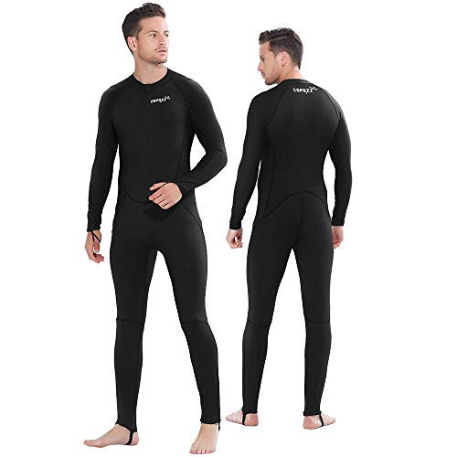 COPOZZ Diving Skin, Men Women Youth Thin Wetsuit Rash Guard- Full Body UV Protection - for Diving Snorkeling Surfing Spearfishing Sport Skin (Black, X-Large for Men)