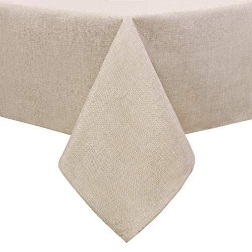 Hiasan Faux Linen Rectangle Tablecloth - Waterproof Wrinkle and Stain Resistant Washable Table Cloth for Kitchen Dining Room Holiday Dinner, Beige, 54 x 108 Inch