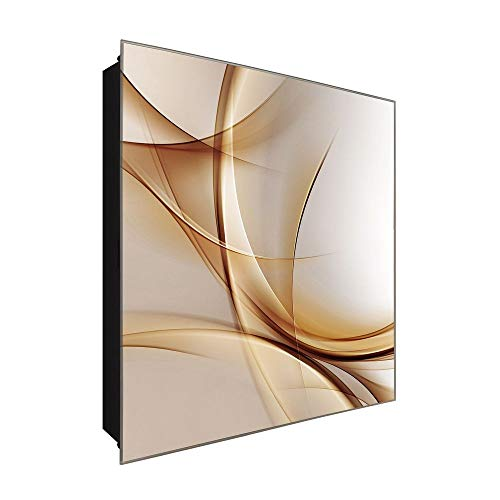 DekoGlas Schlüsselkasten \'Braune Wellen\' 30x30 Glas, inkl. Haken Schlüsselbrett Schlüssel-Box Design Aufbewahrung