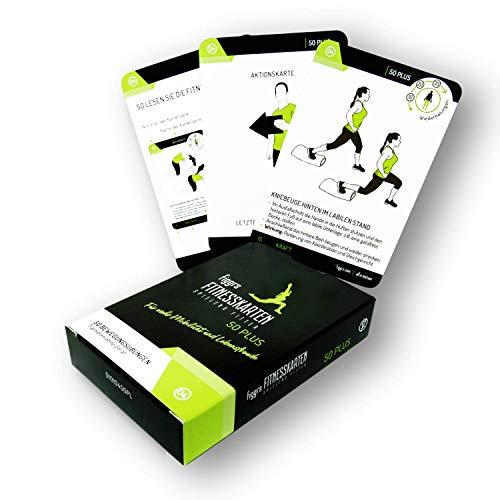 Figgrs Tarjetas de entrenamiento en alemán - Fit & Vital 50 Plus I 50 ejercicios de fitness para más fuerza, movilidad y agilidad en la vejez I En casa sin equipo para hombres y mujeres