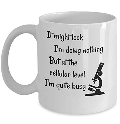 Funny biology coffee mug - At the cellular level - Biologists science microscope symbol biology student gift - Natural sciences microbiology - science of life evolution theory Molecular biology humor