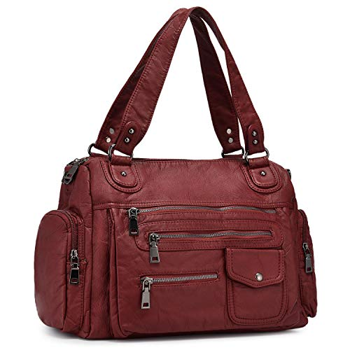 BAIGIO Women Tote Purses Roomy Washed Leather Bag Multiple Pockets Functional Satchel Large Shoulder Bags for Ladies (Wine Red)