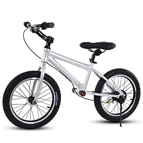 Bicicletta Senza Pedali Bici Senza Pedali Sportiva con Ruote in Gomma da 16 Pollici, Bicicletta Senza Pedali per 6/7/8/9/10/12/15 Anni, Maniglia da Allenamento e Sedile Regolabile ( Color : Silver )