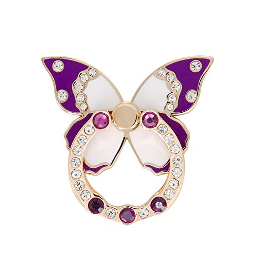 Cell Phone Bling Ring Holder, Butterfly Shape Crystals Finger Stand 360° Rotation Collapsible Grip Kickstand Compatible with iPhone, Samsung Galaxy and All Android Smartphone (Purple)