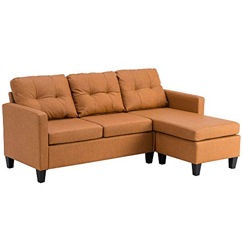 3-Sitzer-Sofa, Luxus-Lounge-Couche-Set, Doppel-Chaiselongue, Kombi-Sofa, PU-Schlafsofa mit wendbarer Recamiere, Ecksofa mit 3 Rollen und 1 Pedal (hellbraun)