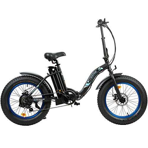 """ECOTRIC 20"""" Powerful Folding Electric Bicycle Fat Tire Alloy Frame 500W 36V/12.5AH Lithium Battery Ebike Rear Motor LED Display (Black)"""