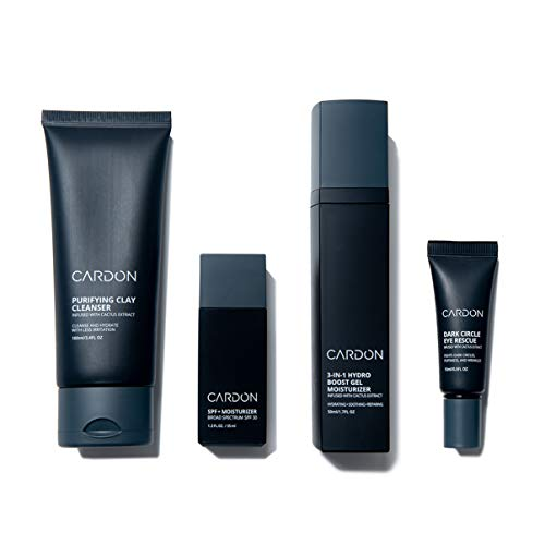 Cardon Anti Aging Skin Care Set for Men | Includes Cardon Dark Circle Eye Rescue, SPF 30 Moisturizer, Face Wash, and Night Cream for Wrinkle Repair | Mens Grooming Skin Care Set