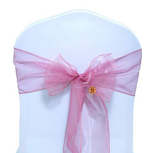 Events N Fabrics Confezione da 100 Fasce in Organza Fodera per Sedia Archi Fusciacca più Ampia Fiocchi pieni Feste Decorazione di Compleanno per Matrimoni | Dusty Pink