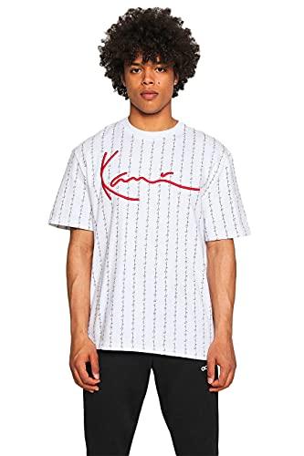 Karl Kani Herren T-Shirt Signature Logo Pinstripe White (S)