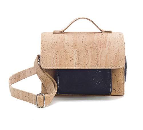 Cork lederen handtas voor vrouwen met afneembare riem | Vegan Natural & Black Crossbody tas/schoudertas | Eco Friendly