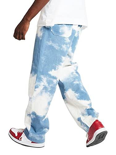 Shownicer Herren Patchwork Jeans Casual Relaxed Fit Jeanshose Denim Hosen Baggy Hip Hop Jeans Hose mit Weitem Bein Straight Leg Vintage Color Block Streetwear C Blau S