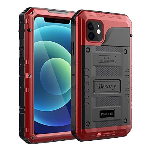 Beeasy Funda para iPhone 12 Impermeable,Antigolpes con Protector de Pantalla,360°Protección Rígida Robusta Antigravedad Carcasa Resistente al Impacto Militar Duradera Blindada Fuerte, Rojo