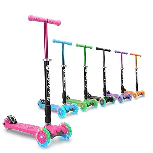 3StyleScooters® RGS-2 Patinete Scooter Tres Ruedas para Niños Niños de 5 Años o Más con Luces LED en Las Ruedas, Diseño Plegable, Manillar Ajustable, Peso Ligero (Rosa)