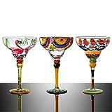 Juego de copas de vino pintadas a mano para copas de vino – elegante copa de vino blanco a rayas, perfecto para fiesta de Navidad-B