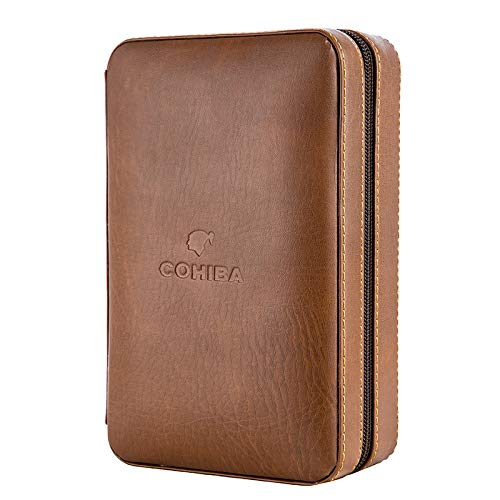 JEG Brown Genuine Leather Ceder Wood 4 to 6 Ct Cigar Humidor Travel Case Holder Gift Set