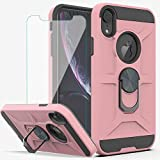 YmhxcY iPhone XR Case,iPhone XR Phone Case with HD Screen Protector YmhxcY 360 Degree Rotating Ring Kickstand Holder Dual Layers of Shockproof Phone Case for iPhone XR 6.1 inch-ZS Rose Gold