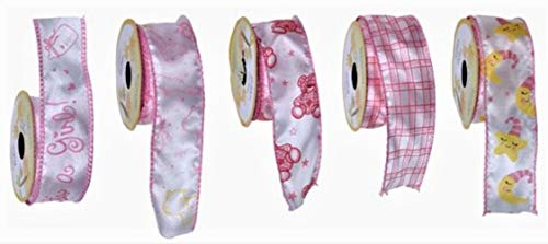 Decorative Wire-Edged Gift Ribbon for Baby Girl Boy, Pink and Blue, 5-roll Sets (Pink)